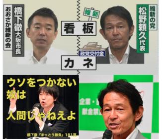 大阪組が松野頼久代表を申請者にして、維新の党の政党交付金を受領。これは詐欺・横領の可能性あり!