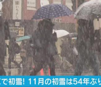都心で初雪、54年ぶりの早さ 関東15cm降雪も