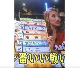 【悲報】加藤紗里のセリーグ順位予想