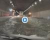 台風で冠水した中央道を走る動画やべえ